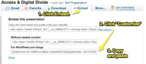 embed slideshare in wordpress.com